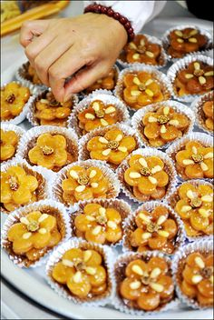Yakgwa is a Korean traditional dish. It was originally considered as a dessert and more recently as a confectionery (hangwa), because of its sweet taste and flower biscuit shape. Yakgwa is made mainly from honey, sesame oil, and wheat flour.