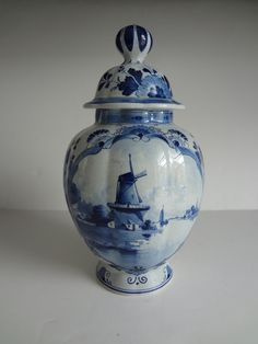 c1894 DE PORCELEYNE FLES Royal Dutch Delft Ginger Jar Vase SCENIC PAINTED