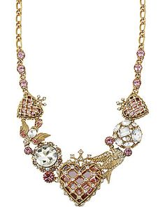HEART MULTI CHARM NECKLACE PINK- oh Betsey,  you outdid yourself! I love this