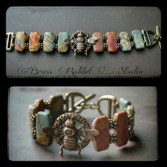 Cuff bracelet, By Brass Rabbit Studio www.brassrabbitstudio.etsy.com  Natural stones, Cherry creek jasper, Vintaj brass co. Focals, and tierracast d-ring toggle #handmade #boho #eclectic #artisan #jewelry #artbeads