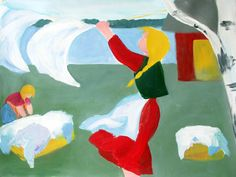 Mirja Clement-  Acrylic Painting: Laundry Day