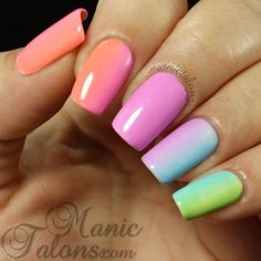 This nail art features gorgeous gel nail polish shades in lovely colors of pink, blue, green and orange. Read up on the detailed how-to and must have products for your next DIY session. Gradient Nails, Rainbow Nails, Neon Nails, Love Nails, Fabulous Nails, Gorgeous Nails, Pretty Nails, Nagel Hacks, Nail Art Blog