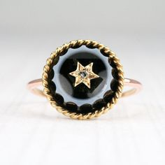 Antique Banded Agate & Gold Star Set Diamond Ring