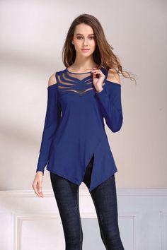 Blue Patchwork Asymmetrical Top