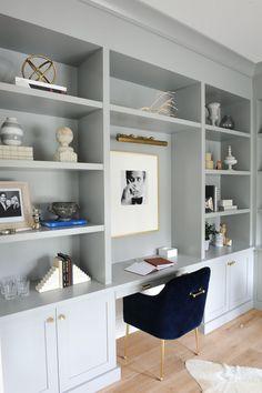 Office Built Ins, Built In Desk, Built In Bookcase, Office Bookshelves, Office Shelving, Bookcases, Build In Bookshelves, Bedroom With Bookshelves, Desk With Shelves