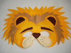 León máscara Animal fieltro infantiles por magicalattic en Etsy, $12.50