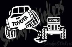 Toyota Peeing On Jeep Sticker Decal - Tundra Tacoma 4Runner FJ Cruiser Truck
