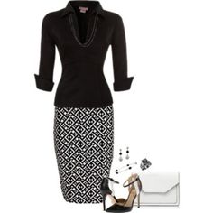 A fashion look from December 2016 featuring Pinup Couture blouses, Boohoo skirts and Forever New clutches. Browse and shop related looks. Classy Outfits, Casual Outfits, Fashion Outfits, Womens Fashion, Petite Fashion, Fashion Tips, Office Outfits, Office Wear, Work Outfits