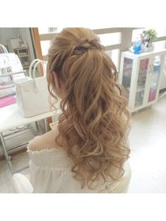 Hair Styles Long Half Up Curls Medium Lengths 39 Ideas Up Hairstyles, Pretty Hairstyles, Wedding Hairstyles, Bridesmaid Hair, Prom Hair, Medium Hair Styles, Curly Hair Styles, Half Up Curls, Hairdo Wedding