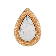 Bohemian Bardot Ring - White Howlite (Shiny Gold) – Emte Boutique