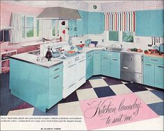 1954 Aqua Kitchen & Laundry by American Vintage Home, via Flickr
