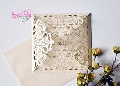 Ivory and Champagne or Gold Square Laser by yourstrulyinvitation