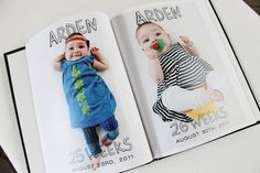 I love this DIY baby book...take a picture once a week for a year and turn into book