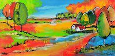 Dit is een: Acrylverf op doek, titel: 'Kleurrijk landschap' kunstwerk vervaardigd door: Corrie Leushuis
