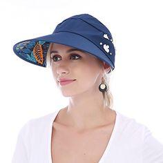EDINSY Long Visor Sun Hats for Women Wide Brim UV Protection Summer Floppy Beach Packable Visor