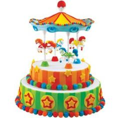 Circus Carousel Cake - Our Carousel Cake Set turns a plain round cake into a colorful merry-go-round perfect for any birthday boy or girl! With fondant, it's easy to decorate horses and trims in a rainbow of colors. Carousel Cake, Carousel Party, Carousel Birthday, Circus Birthday, Wilton Cakes, Cupcake Cakes, Theme Carnaval, Carnival Cakes, Birthday Cakes