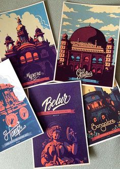 CYNN-This postcards serie was designed by Ranganath Krishnamani. Each postcard shows an illustration of a building or a statue; what unify the series even more are the colours, the retro aspect and the display typography.