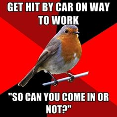 """Retail Robin - get hit by car on way to work """"so can you come in or not?"""""""