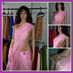 Baby Pink Softnet saree with Designer blouse