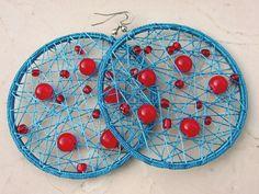 Blue Crochet Earrings/ Red Dots Earrings/ Beaded by Nimmet on Etsy