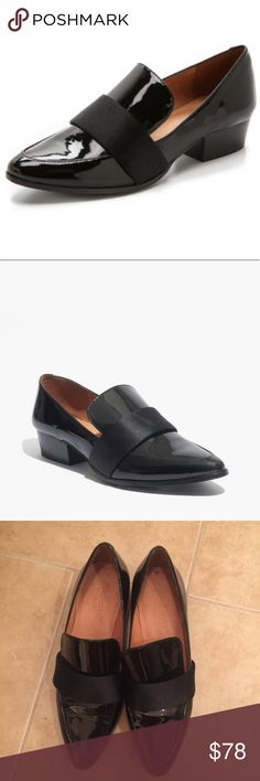 """Madewell The Lytton Loafer Madewell The Lytton Loafer size 7. Black patent leather with black satin band slip on Loafer. 1 1/4"""" heel, leather lining. Only worn a couple times, in excellent condition. Small wear in heel, as pictured. Perfect for fall! Madewell Shoes Flats & Loafers"""