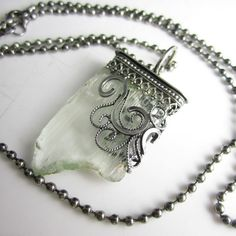 Stalactite Necklace - Rough Triphane set in a Sterling Filigree Setting   glowfly - Jewelry on ArtFire