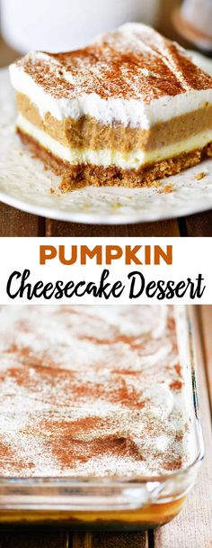 Pumpkin Cheesecake Dessert - The Gunny Sack Pumpkin Cheesecake Dessert has two layers of smooth, creamy cheesecake with a gingersnap crust. Made in a inch pan this cheesecake is made for sharing! Pumpkin Mug Cake Recipe, Pumpkin Bundt Cake, Pumpkin Pie Cheesecake, Cheesecake Desserts, Pumpkin Dessert, Pumpkin Recipes, Raspberry Cheesecake, Pumpkin Foods, Pumpkin Lasagna