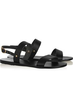 Heel measures approximately 10mm/ 0.5 inches Black leather Buckle-fastening slingback strap