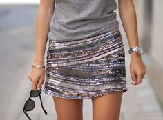 gray tshirt & sequin skirt. it's perfection.