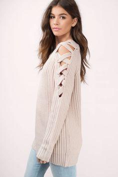 Vana Lace Up Shoulder Sweater at Tobi.com #shoptobi