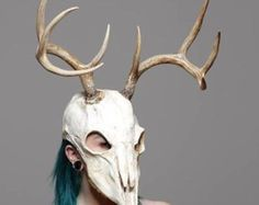 S/M Kitty skull mask with ears and movable jaw.