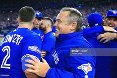 Manager John Gibbons of the Toronto Blue Jays celebrates defeating the Baltimore Orioles 5-2 to win the American League Wild Card game at Rogers Centre on October 4, 2016 in Toronto, Canada.