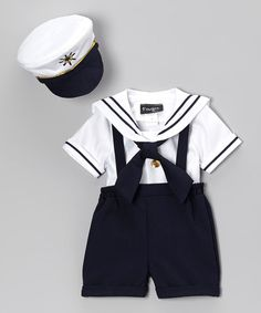 Look at this #zulilyfind! Navy & White Sailor Shorts Set - Infant, Toddler & Boys by Fouger for Kids #zulilyfinds