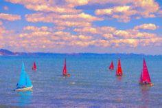 Sailing Boats Blue Sea Wall Canvas Various Sizes by cornwallshop