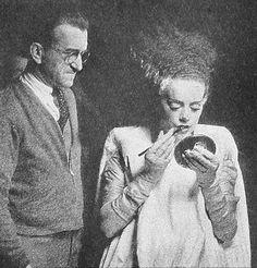 Elsa Lanchester and Jack Pierce behind the scenes of The Bride Frankenstein (1935)