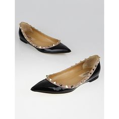 Pre-owned Valentino Black Patent Leather Rockstud Flats (22.825 RUB) ❤ liked on Polyvore featuring shoes, flats, black skimmer, black pointed toe flats, black ballet flats, pointed toe ballet flats and black patent flats