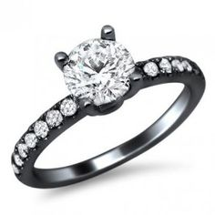 18k Black Gold Round Diamond Engagement Ring - Unusual Engagement Rings Review.       Dream ring