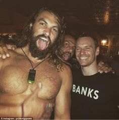 Birthday boy: The strapping physique that helped win him legions of fans was back on display as Jason Momoa ushered in his 37th birthday with Hollywood star Michael Fassbender on Sunday evening