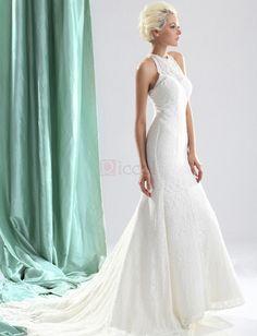 ❀ Draped Sleeveless Lace Sheath Court Train Wedding Dresses | Riccol ❤