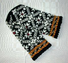 High quality hand knitted warm wool mittens , gloves Black and White pattern - Night Snowflakes. $50.00, via Etsy.