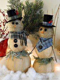 DIY SNOWMEN: Jute twine & Burlap wrapped over Styrofoam balls. Embellish as you like.