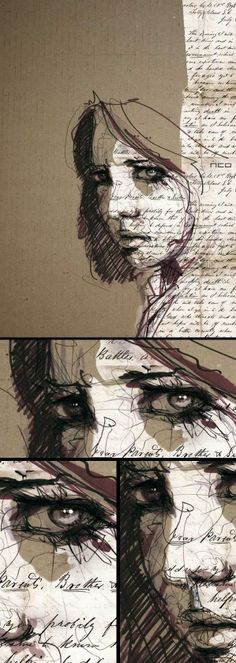 Eve By Florian Nicolle Via Behance Mixed Media Style Illustration Amp Design Mermaid Drawings, Photocollage, A Level Art, Pics Art, Cool Drawings, Drawing Faces, Drawing Lips, Medium Art, Collage Art