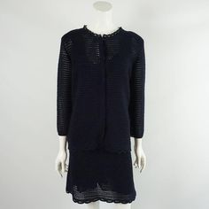 Prada Navy Crochet Knit Dress and Cardigan Set