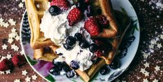 fresh waffles with b