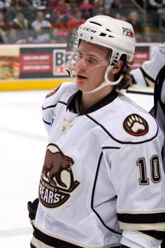 01.04.14 - Dustin Gazley playing his first home game at Giant Center after being called up from the Reading Royals.  Photo courtesy of JustSports Photography