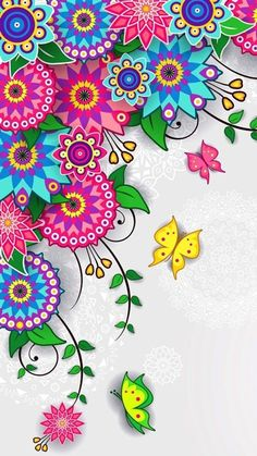Floral Pattern Wallpaper - Trend Topic For You 2020 Mandala Wallpaper, Pink Wallpaper Backgrounds, Butterfly Wallpaper, Wallpaper S, Cute Wallpapers, Iphone Backgrounds, Screen Wallpaper, Wallpaper Ideas, Iphone Wallpapers