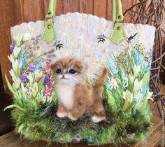 """Купить Сумочка """" Растворяясь в мечтах о лете.."""" - котенок, цветы, летняя сумка"""