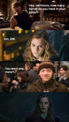 24 Hilarious Harry Potter and Hermione Memes - Gag Loop Harry Potter Film, Harry Potter Jokes, Harry Potter Pictures, Harry Potter Fandom, Funny Harry Potter Pics, Harry Potter Wallpaper, Pick Up Lines, Favim, Fandoms
