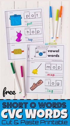 Educational Activities, Activities For Kids, Cut And Paste Worksheets, O Words, Short O, Short Vowels, Help Kids, Fun Learning, Phonics