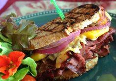 Buffalo Pastrami and Peach Sandwiches with Orange Aioli
